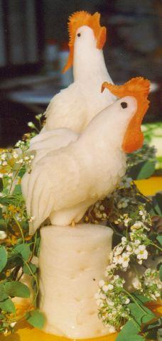 Hahn und Henne aus Rettich